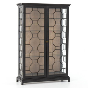 Anna Black Iron Frame Glass Door Display Etagere Cabinet