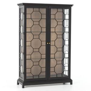 Anna Black Iron Frame Glass Door Display Etagere Cabinet