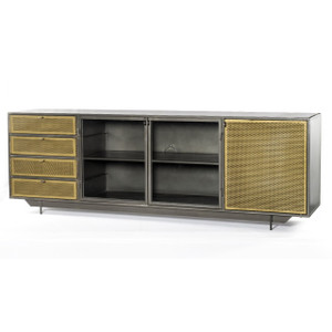"""Hendrick Industrial Mesh Tool Chest Media Console 83"""""""