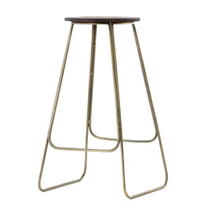 Dior Vintage Brass Wood Bar Stool