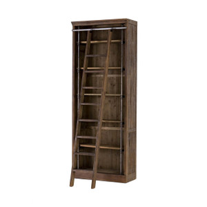 Ivy Umber Reclaimed Wood Bookcase with Ladder
