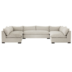 "Grant Modern Oatmeal 5-Piece Armless ""U"" Sectional Sofa"