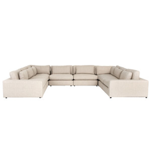 Bloor Contemporary Beige Linen 8-Piece  U-Shaped Sectional Sofa