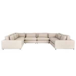 Bloor Contemporary Beige Linen 8-Piece  U-Shaped Sectional Sofa