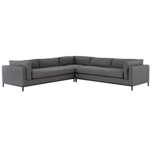 Grammercy Modern Charcoal Grey 3 Piece Corner Sectional Sofa