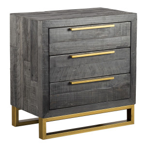 Elle Brass Leg Reclaimed Wood 3 Drawers Nightstand