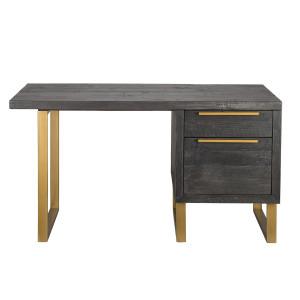 """Elle Brass Leg Reclaimed Wood Writing Desk 55"""""""
