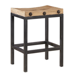 Wilber Reclaimed Elm Wood and Iron Counter Stool