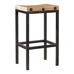 Wilber Reclaimed Elm Wood and Iron Bar Stool