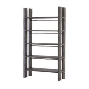 Rainey Industrial Plank Wood 5-Shelf Bookcase
