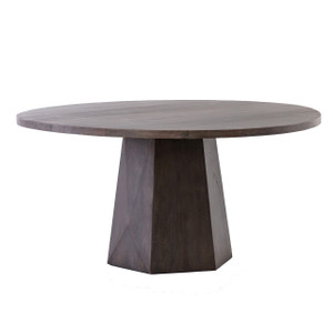 """Kemper Reclaimed Wood Coal Grey Round Dining Table 60"""""""