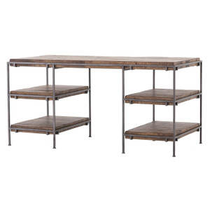 Barton Iron Frame + Slab Wood Shelf Office Desk 60""