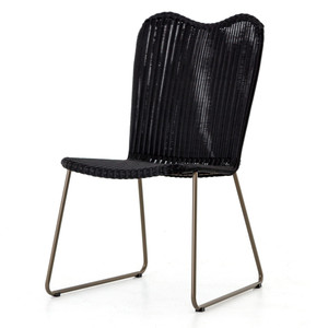 Canbiro Black Woven Wicker Outdoor Dining Chair