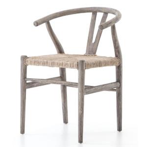 Muestra Grey Teak Wood Woven Wicker Dining Chair