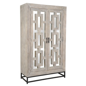 Marabella 2 Door Mirrored Wood Cabinet Hutch