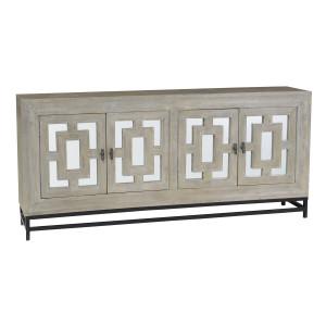 Marabella 4 Door Mirrored Wood Buffet Sideboard