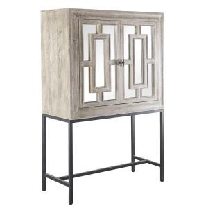 Marabella Mirrored Wood Wine Cabinet