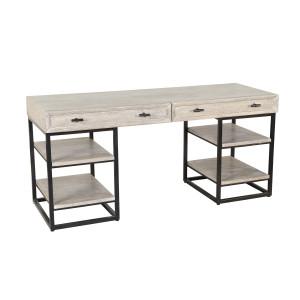 Marabella Solid Wood Whitewash 2 Drawer Desk