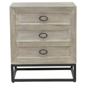 Marabella Solid Wood Whitewash 3 Drawer Nightstand