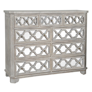 Lattice Whitewash Wood Mirrored 9 Drawer Dresser