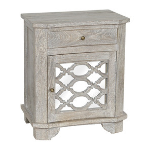 Lattice Whitewash Wood Mirrored 1 Drawer Nightstand