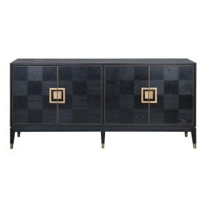 Art Deco Black Oak Wood Sideboard with Brass