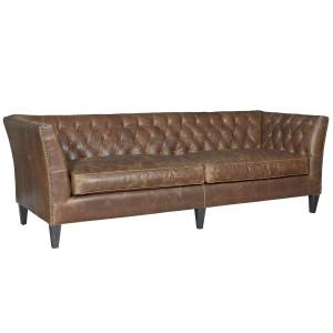 "Duncan Chestnut Tufted Leather Sofa 98"""