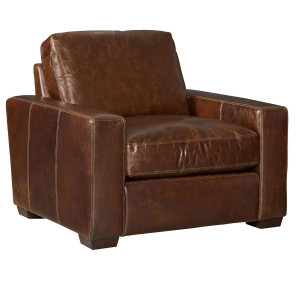 Oliver Brown Leather Accent Chair