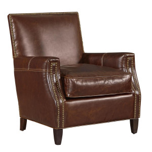 Finley Brown Leather Club Chair