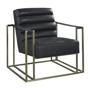 Jensen Modern Black Leather Club Chair