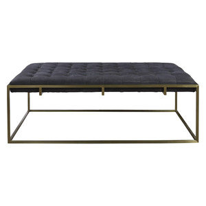 Travers Black Tufted Leather Cocktail Ottoman