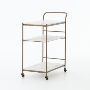 Felix Antique Brass and Marble Bar Cart
