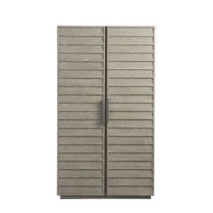Coastal Zephyr Gray Louvered Wardrobe Armoire