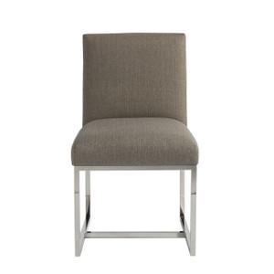 Coastal Zephyr Grey Chrome Leg Upholstered Side Chair