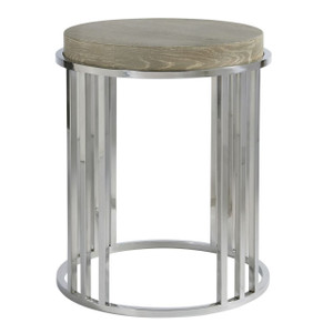 Coastal Zephyr Grey Round End Table
