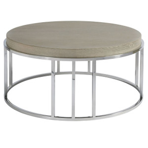 "Coastal Zephyr Grey Round Cocktail Table 40"""