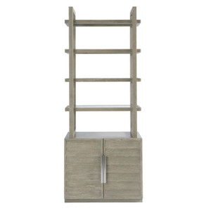 Coastal Zephyr Grey Louvered Etagere with Cabinet