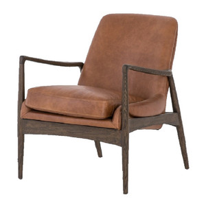 Braden Mid-Century Brandy Tan Leather Club Chair