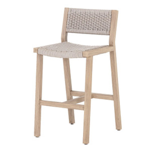 Delano Natural Teak Outdoor Rope Bar Stool