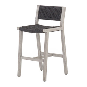 Delano Grey Teak Outdoor Rope Bar Stool