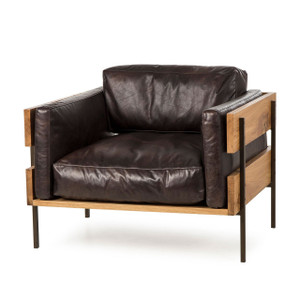 Carson II Espresso Leather Accent Chair, Oak