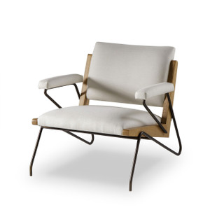 Marrianne Modern White Bronze Oak Armchair