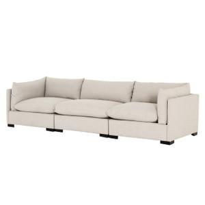 """Westworld Modern Beige 3-Piece Lounge Sofa 117"""""""