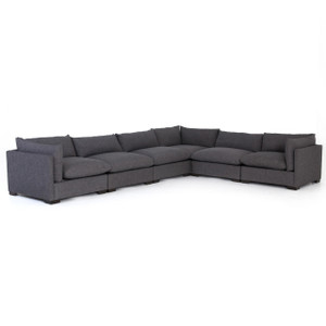 Westworld Modern Gray 6-Piece Corner Sectional Sofa 156""