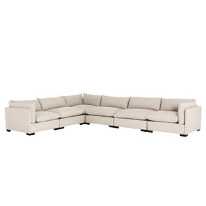 Westworld Modern Beige 6-Piece Corner Sectional Sofa 156""