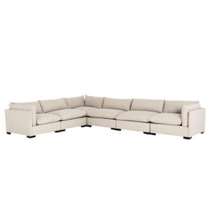 """Westworld Modern Beige 6-Piece Corner Sectional Sofa 156"""""""