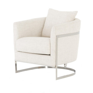 Liam Modern Cream Curved Club Chair
