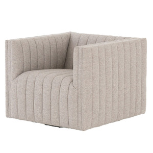 Augustine Grey Channel Tufted Swivel Chair