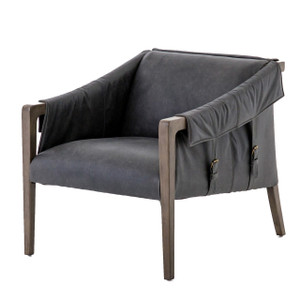 Bauer Mid-Century Modern Ebony Leather Club Chair