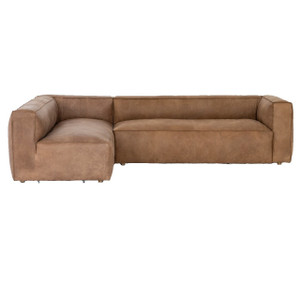 Nolita Tan Leather 2-PC Modular Sectional Sofas 120""